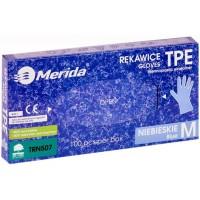 Rękawice  bezpudrowe  MERIDA - M , 100 szt niebieskie